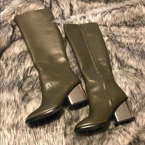 Beautiful ALDO olive green leather knee high boots